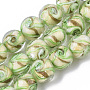 Handmade Gold Sand Lampwork Beads Strands, Round, PaleGreen, 11.5~12.5x11~12mm, Hole: 1.2mm; about 45pcs/Strand, 20.08''