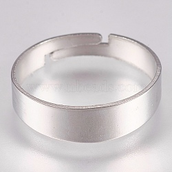 304 Stainless Steel Finger Ring Settings, Adjustable, Ring, Stainless Steel Color, Size 7(17mm); 3.5~5mm(STAS-G173-20P)