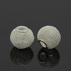 Perles de maille de fil de fer, matériel de bricolage pour les épouses de basket boucles d'oreilles faisant, rondelle, couleur argentée, taille: environ 16mm de diamètre, épaisseur de 14mm, Trou: 5mm(IFIN-16D-S)