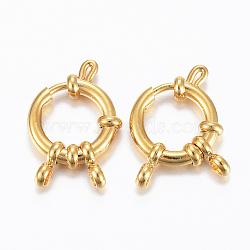 304 пружинные кольца из нержавеющей стали, золотой, 23x14x4 mm, отверстия: 2.5 mm(STAS-H558-29G)
