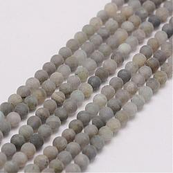 Natural Labradorite Beads Strands, Frosted, Round, 4mm, Hole: 0.5mm; about 118pcs/strand, 15.3inches(39cm)