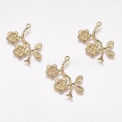 Pendentifs en laiton, véritable plaqué or, branche avec des fleurs, 26x23x1mm, Trou: 1mm(KK-F731-18G)