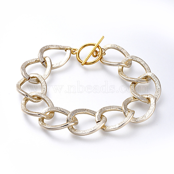 Aluminum Curb Chain Bracelets, with Alloy Toggle Clasps, Light Gold & Golden, 7-1/2 inches(19cm)(BJEW-JB05167-02)
