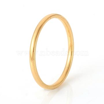 304 Stainless Steel Plain Band Rings, Real 18K Gold Plated, Size 6, Inner Diameter: 17mm(X-RJEW-G107-1.5mm-6-G)