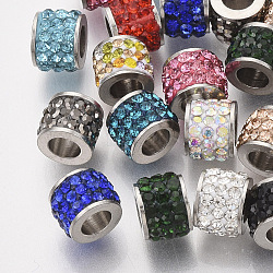 304 Stainless Steel Beads, with Polymer Clay Rhinestone, Column, Mixed Color, 5.5x7mm, Hole: 3.5mm(X-STAS-T050-007)