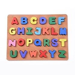 enfants en bois blocs de construction de bricolage, pour les jouets d'apprentissage et d'éducation, alphabet, couleur mélangée, 29.8x22.8x1.5 cm; 26 pcs / set(DIY-L018-17)