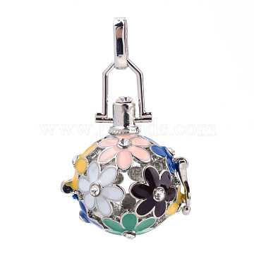 Rack Plating Brass Cage Pendants, For Chime Ball Pendant Necklaces Making, with Enamel and Rhinestone, Hollow Round with Flower, Yellow, Platinum, 28x25x20mm, Hole: 3x7mm; inner measure: 17mm(X-KK-Q402-10P-2)