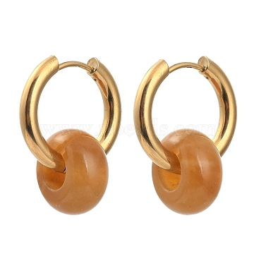 304 Stainless Steel Huggie Hoop Earrings, with 316 Surgical Stainless Steel Pin and Rondelle Natural Yellow Agate Beads, Golden, 25mm, Pin: 0.9mm(X-EJEW-JE04260-03)