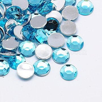 Imitation Taiwan Acrylic Rhinestone Cabochons, Faceted, Half Round, Sky Blue, 2x1mm; about 10000pcs/bag(GACR-A002-2mm-08)