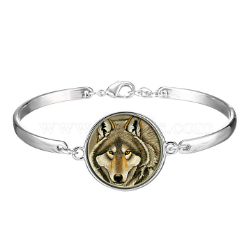 Picture Glass Links Bracelets, with Alloy Findings, Flat Round with Pattern, Wolf, Dark Khaki, 2-1/8 inches(5.5cm)(BJEW-O171-41)