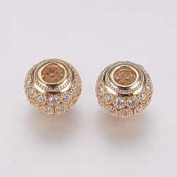 Perles européennes en laiton avec zircone cubique de micro pave, Plaqué longue durée, rondelle, véritable 18k plaqué or, 11x9.5mm, Trou: 4mm(ZIRC-F081-22G)