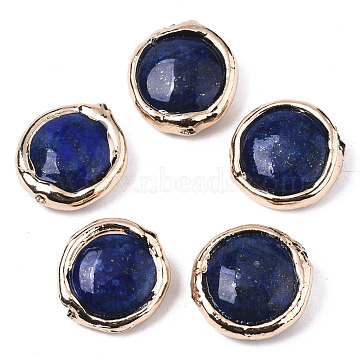 Natural Lapis Lazuli Beads, with Light Gold Plated Polymer Clay Edge, Flat Round, 17~19x17~18x5~7mm, Hole: 1.2mm(G-S359-111)