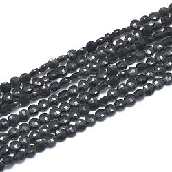 obsidienne naturelle perles brins, facettes, plat rond, 4~4.5x2.5x3 mm, trou: 0.7 mm, environ 104~109 pcs / brin, 15.35 (39 cm)(G-D0003-A27)