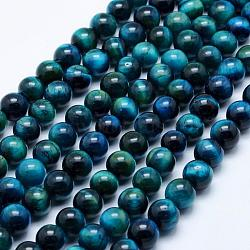 Natural Tiger Eye Beads Strands, Dyed & Heated, Round, 8mm, Hole: 1mm; about 47~48pcs/strand, 15.5inches(39.5cm)
