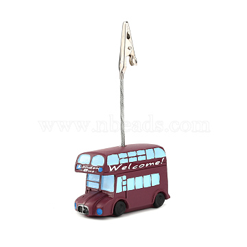 Resin Name Card Holder, Photo Memo Holders, with Iron Alligator Clip, Double Decker Bus, Platinum, Brown, Bus: 34.5x54.5x25mm; Clip: 31x7x10mm(DJEW-F010-06D)