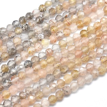 Natural Moonstone Beads Strands, Faceted, Round, 2mm, Hole: 0.5mm; about 158pcs/strand, 15.55 inches(39.5cm)(G-M353-A38-2mm)