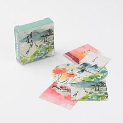 Motif végétal étiquette de papier de bricolage image paster autocollants, carrée, rectangle et plat rond, couleur mixte, 38x38mm; 38x28mm; 38mm; environ 40 feuilles / set(AJEW-L058-42)