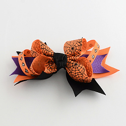 Halloween Grosgrain Bowknot Alligator Hair Clips, with Iron Clips, Platinum, DarkOrange, 90x135mm(PHAR-R165-12)