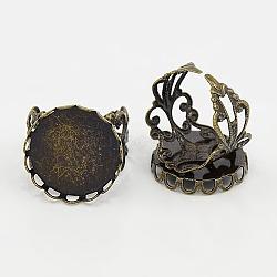 Manchette bagues en laiton, composants d'anneau en filigrane, création de bagues anciennes , rond, couleur de bronze antique, taille: anneau: environ 18.5 mm de diamètre intérieur; plateau: environ 21 mm de diamètre, 20 mm de diamètre intérieur (KK-Q011-AB)