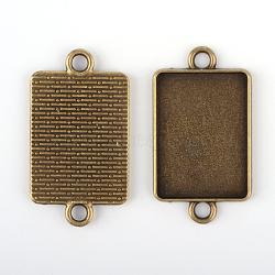 Supports cru tibétains en alliage connecteur cabochon de lunette, sans nickel, bronze antique, plateau rectangle: 18x25 mm; 36x20x2 mm, Trou: 3mm(X-TIBE-M016-08AB-NF)