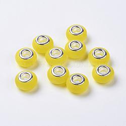 résine perles européennes, avec doubles noyaux en laiton plaqué couleur argent, imitation oeil de chat, givré, rondelle, jaune, 14x8.5 mm, trou: 5 mm(RPDL-K001-A01)