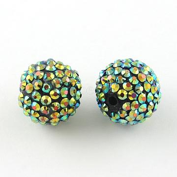 14mm YellowGreen Round Resin+Rhinestone Beads