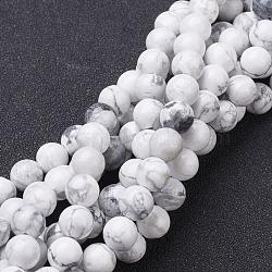 beads brins, perles rondes en howlite naturelles, blanc, sur 4 mm de diamètre, trou: environ 0.8 mm, 15~16 pouces