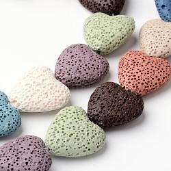 """Coeur teints perles de lave synthétique brins, 20~21x20~21x7~8mm, trou: 1mm; environ 20 pcs/chapelet, 15.5""""(G-F259-06)"""