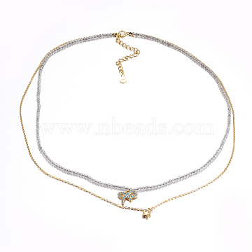Faceted Natural Labradorite Tiered Necklaces, Layered Necklaces, with Brass Charms, Bowknot & Star, 15.7~16.3inches(40~41.5cm)(NJEW-F212-13G)