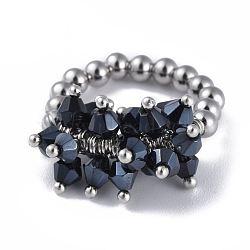 304 bagues élastiques en acier inoxydable, avec perle de verre galvanisée et goupilles en laiton, noir, taille 8, 18mm(RJEW-JR00261-08)