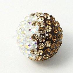 Austrian Crystal Beads, with Resin Inside, Round, 225_Smoky Quartz, 8mm, Hole: 1mm(X-SWARJ-C195-8mm-04)