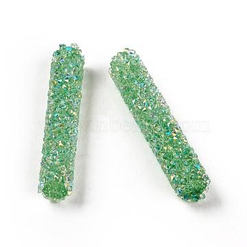 32mm MediumSeaGreen Column Glass Beads