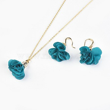 Teal Cloth Earrings & Necklaces