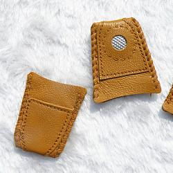 dé à coudre en peau de mouton, pour la protection des doigts et en augmentant la force, chameau, 42 mm, trou: 30 mm et 40 mm(TOOL-WH0015-L01)
