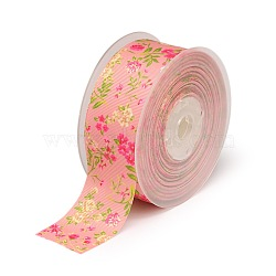 rubans en gros-grain polyester imprimé floral recto, rose, 1-1 / 2 (38 mm); à propos de 100 yards / rouleau (91.44 m / roll)(SRIB-A011-38mm-240877)