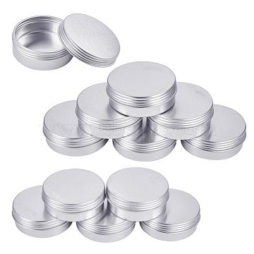 BENECREAT Round Aluminium Tin Cans, Aluminium Jar, Storage Containers for Cosmetic, Candles, Candies, with Screw Top Lid, Platinum, 4.8x1.8cm, Capacity: 25ml, 24pcs/set(CON-BC0004-84)