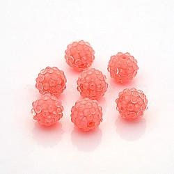 Бусины со стразами из смолы, прозрачные стиле, круглые, ярко-розовые, 14x12 мм, отверстие : 2 мм(RESI-S259-14mm-ST8)