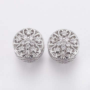 Brass Micro Pave Cubic Zirconia European Beads, Large Hole Beads, Hollow, Flat Round with Flower, Clear, Platinum, 11x10.5mm, Hole: 4.5mm(OPDL-P001-59)