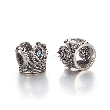 Hollow Antique Silver Plated 925 Sterling Silver European Beads, Large Hole Beads, with Cubic Zirconia, Carved with 925, Crown, Blue, 10x11.5x10.5mm, Hole: 4.5mm(STER-L062-05AS)