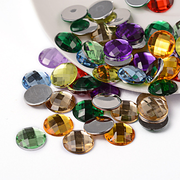 Imitation Taiwan Acrylic Rhinestone Flat Back Cabochons, Faceted, Half Round/Dome, Mixed Color, 12x4mm(X-GACR-D002-12mm-M)