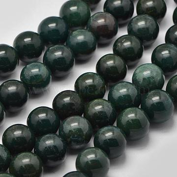 Natural Green Bloodstone Beads Strands, Heliotrope Stone Beads, Round, 16mm, Hole: 1.2mm; about 24pcs/strand, 14.76inches(G-K208-30-16mm)