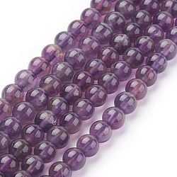 Natural Amethyst Beads Strands, Round, 4mm, Hole: 1mm; about 46pcs/strand, 7.6inches