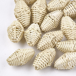 Handmade Reed Cane/Rattan Woven Beads, For Making Straw Earrings and Necklaces, No Hole/Undrilled, Oval, AntiqueWhite, 28~33x16~17x16~17mm(X-WOVE-T006-078)