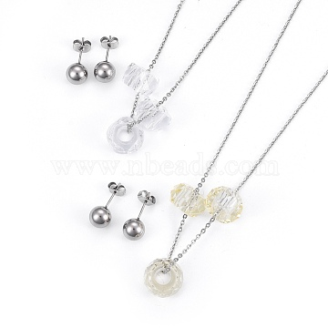 304 Stainless Steel Jewelry Sets, Necklaces and Stud Earrings, with Faceted Glass Beads, Abacus, Stainless Steel Color, 16.1inches(41cm); 8mm; Pin: 0.7mm(SJEW-F188-07P)