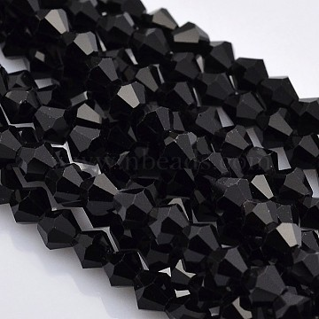 Faceted Bicone Glass Beads Strands, Black, 4x4mm, Hole: 1mm, about 92~96pcs/strand, 13.78~14.37 inches(X-EGLA-P017-4mm-04)