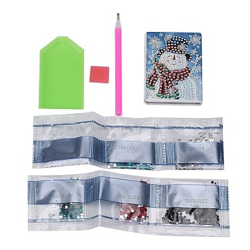 DIY Diamond Painting Stickers Kits For Plastic Mirror Making, with Glass, Resin Rhinestones, Diamond Sticky Pen, Tray Plate and Glue Clay, Rectangle with Snowman Pattern, Mixed Color, 87x61x10mm(DIY-F059-36)