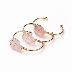 Long-Lasting Plated Brass Cuff Bangles, with Natural Rose Quartz, Nuggets, Golden, 1-3/8 inchesx2-3/8 inches(3.8x6cm); 2.8mm(X-BJEW-F394-A05)