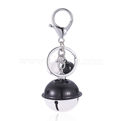Iron Keychain, with Iron Key Ring, Iron Bell, Brass Lobster Clasp, White, 97mm(KEYC-E018-01C)