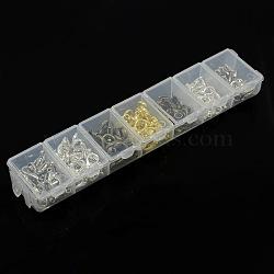 1 140 boîte pcs 4 de fermoirs couleur en alliage de zinc pince de homard, sans nickel, couleur mixte, 12~14x7~8x3~3.5mm, trou: 1~1.5 mm; environ 20 / pcs Compartiment à(PALLOY-X0009-NF-B)