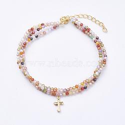 """Bracelets multi-brins en zircone cubique, avec accessoires de pendentif en laiton, fermoirs à ressort, croix, véritable 12k plaqué or, colorées, 6-1/2"""" (165 mm)(BJEW-I247-10-G)"""